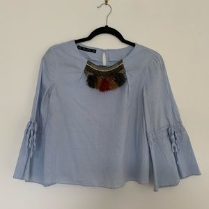 ZARA Embellished Collar Shirt with Tie Bell Sleeve